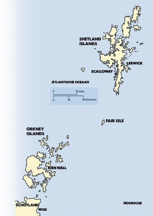 Vaargebied Shetland eilanden