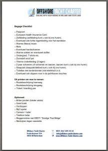 zeilvakantie bagage checklist