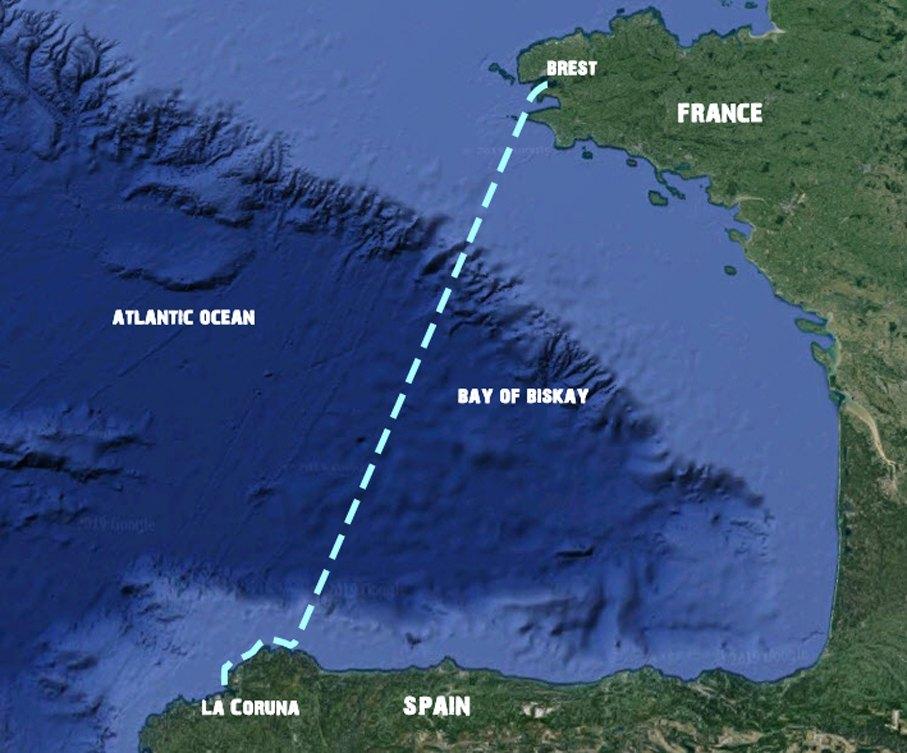 Brest-La_Coruna golf van Biskaje
